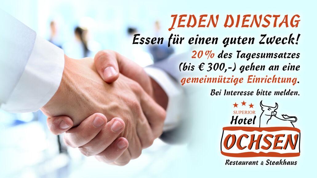 Aktionstag Dienstag Essen für einen guten Zweck Spendenaktion Hotel Restaurant Ochsen in Bad Saulgau