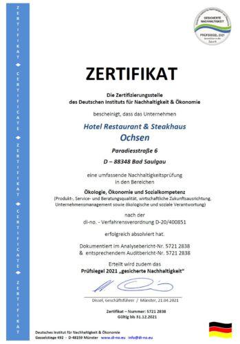 Zertifikat Nachhaltigkeit